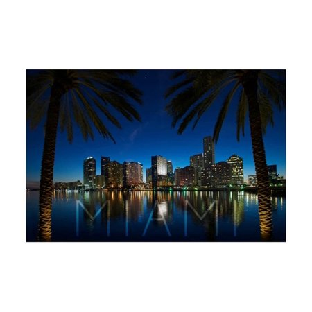 Miami, Florida - Palms and City at Night Print Wall Art By Lantern Press](Party City In Miami Gardens)