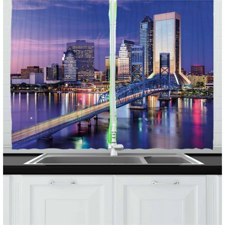 United States Curtains 2 Panels Set, Urban Cityscape Bridge Office Buildings Jacksonville Florida, Window Drapes for Living Room Bedroom, 55W X 39L Inches, Violet Blue Pale Pink Tan, by Ambesonne