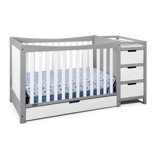 Graco Remi 4 in 1 Convertible Crib and Changer Combo White Gray