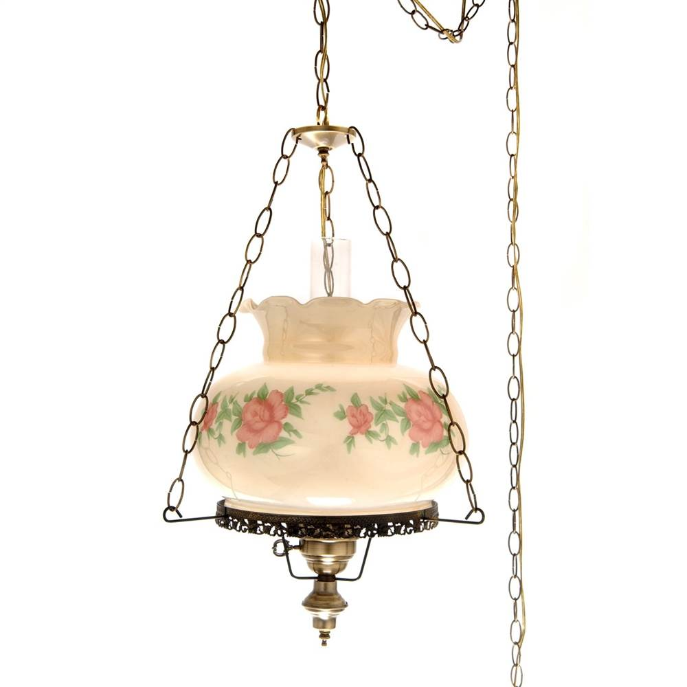 27 in. Rhombus Hurricane Pendant Lamp in Rose w 14 in. Shade