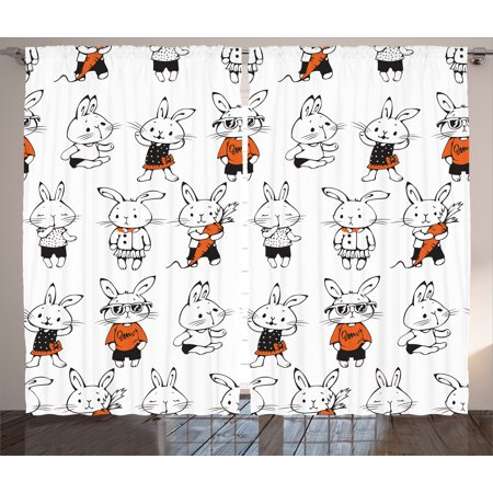 Kids Curtains 2 Panels Set, Cute Retro Bunny Rabbits with Costumes Jack Hare Funky Bunnies Carrot Sketch Style Print, Living Room Bedroom Decor, Orange White, by Ambesonne