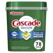 Cascade Complete ActionPacs Dishwasher Detergent, Lemon Scent, 78 Ct