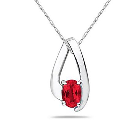 All Natural Ruby Loop Pendant Necklace in 10K White