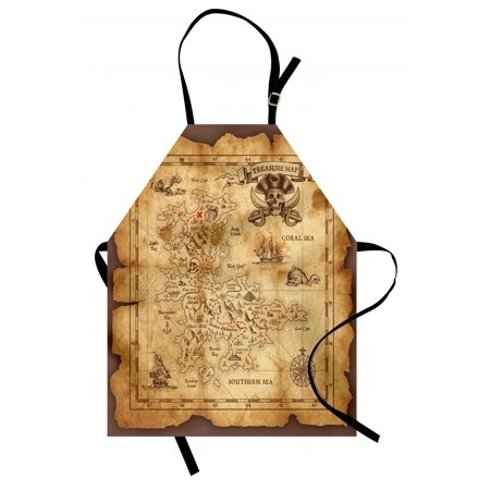 Island Map Apron Super Detailed Treasure Map Grungy Rustic Pirates Gold Secret Sea History Theme, Unisex Kitchen Bib Apron with Adjustable Neck for Cooking Baking Gardening, Beige Brown, by - Pirate Apron
