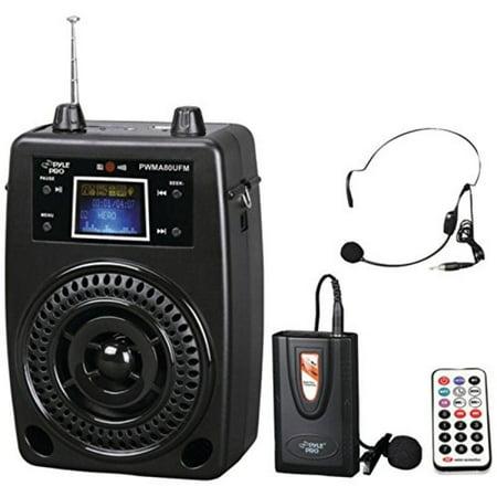 Pyle PWMA80UFM 100W Portable PA System +Wireless Lavalier Mic   Aux Jack  Consumer Electronics 2d5bac8742584