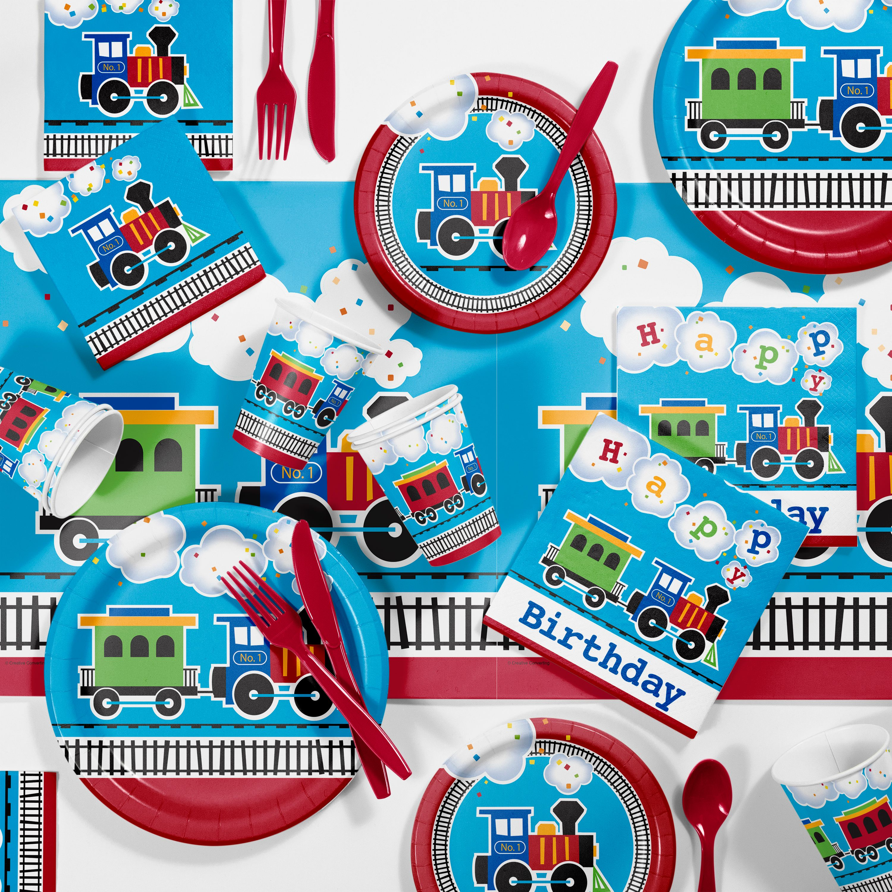All Aboard Train Birthday Party Supplies Kit