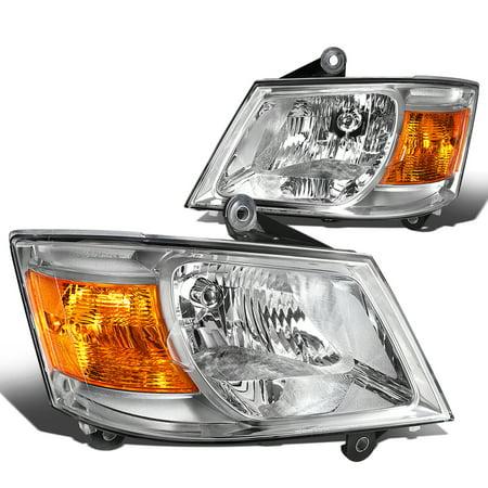 For 2008 to 2010 Dodge Grand Caravan Headlight Chrome Housing Amber Corner Headlamp 3.3L -4.0L 09 Left+Right