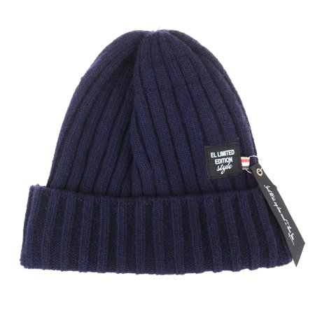 4b1c227c086 WITHMOONS Wool Knitted Ribbed Beanie Hat Rock Ribbon Tag KR5577 (Navy) -  Walmart.com