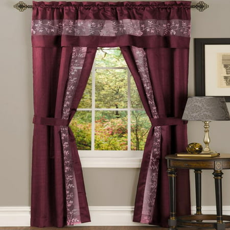 Fairfield 5 Piece Window Curtain Set - 55x63 - - Burgundy Window Curtain