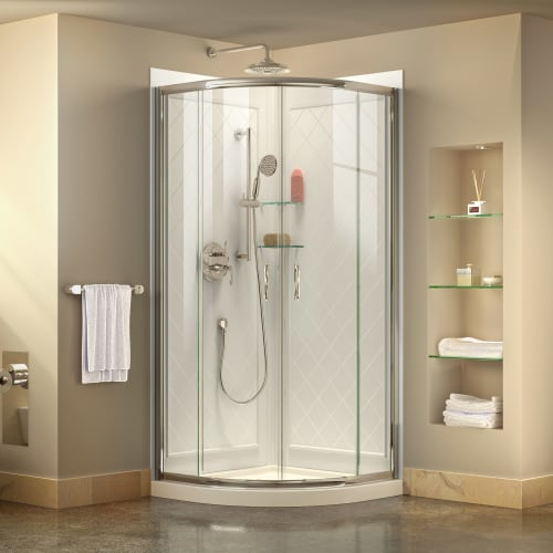 DreamLine Prime 33 in. x 76 3/4 in. Semi-Frameless Clear Glass Sliding Shower Enclosure in Chrome with White Base and Backwalls