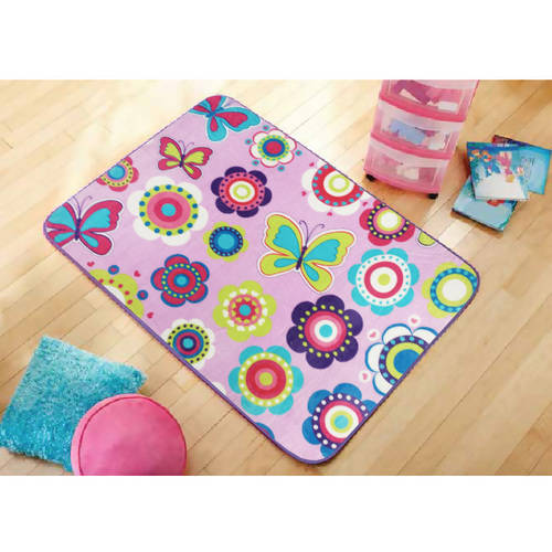 "Mainstays Kids' Royal Plush Butterfly and Floral Accent Rug, 30"" x 46"""