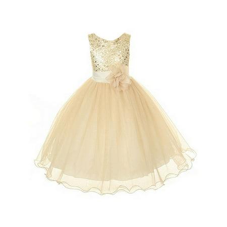 Kids Dream Girls Gold Sequin Plus Size Junior Bridesmaid Dress
