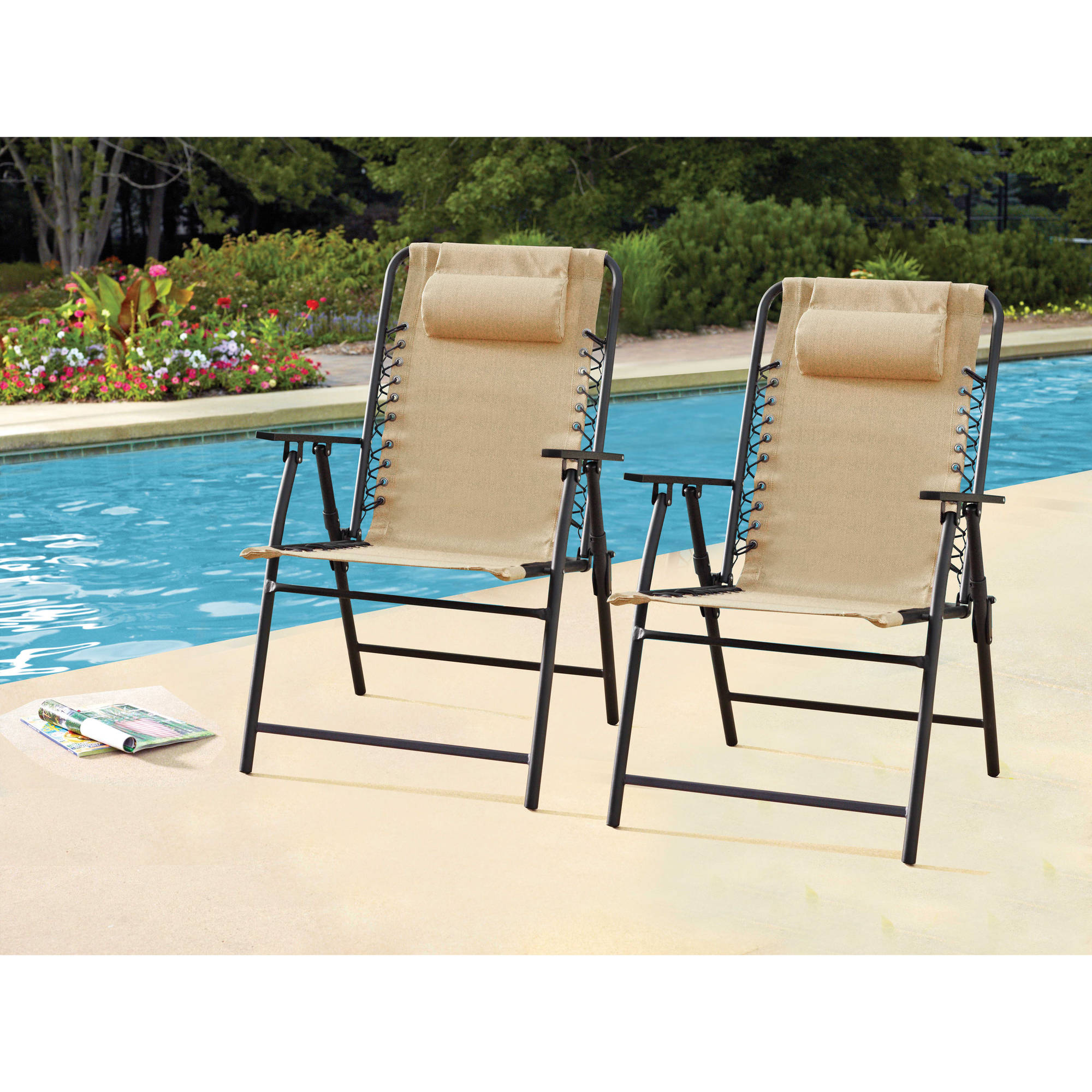 Perfect Mainstays Bungee Chairs,2pk,dune