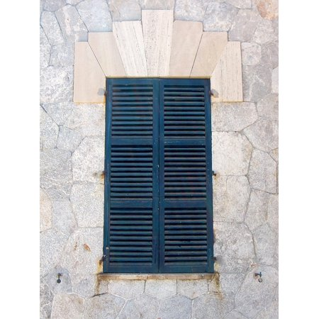 Peel-n-Stick Poster of Shutter Facade Closed Old Window Wooden Shutters Poster 24x16 Adhesive Sticker Poster Print