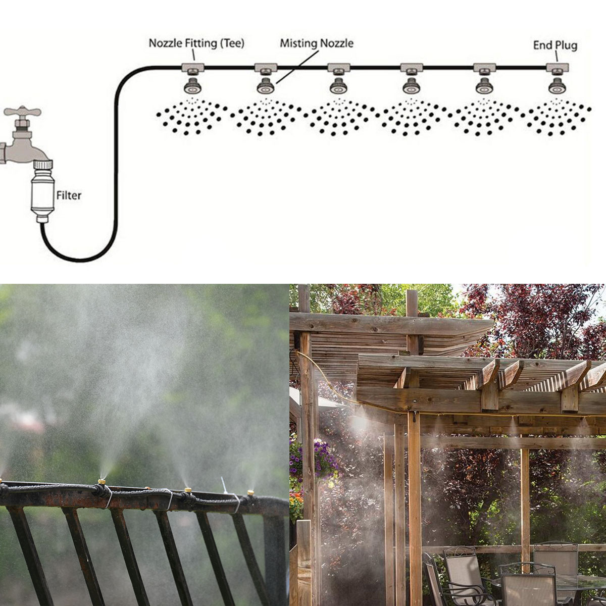 Misting Cooling System Fan Cooler Patio Garden Water Mister Mist Nozzles 19.6FT