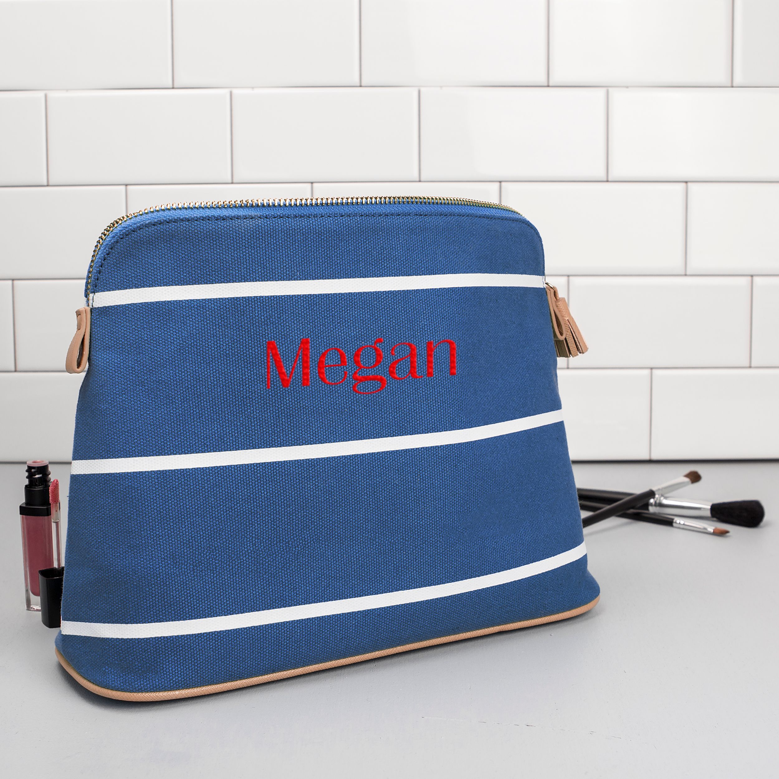 Personalized Striped Cosmetic Bag in Blue
