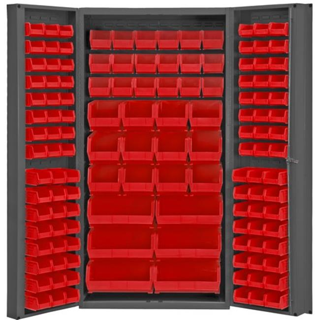 14 Gauge Deep Door Style Lockable Bin Cabinet with 132 Red Hook on Bins, Gray - 36 x 24 x 72 in.