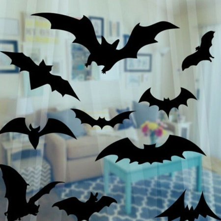 Halloween Wall Coverings Uk (KABOER UK Black Bats DIY Halloween Scary Gothic Vinyl Decal Sticker Car Window Wall)