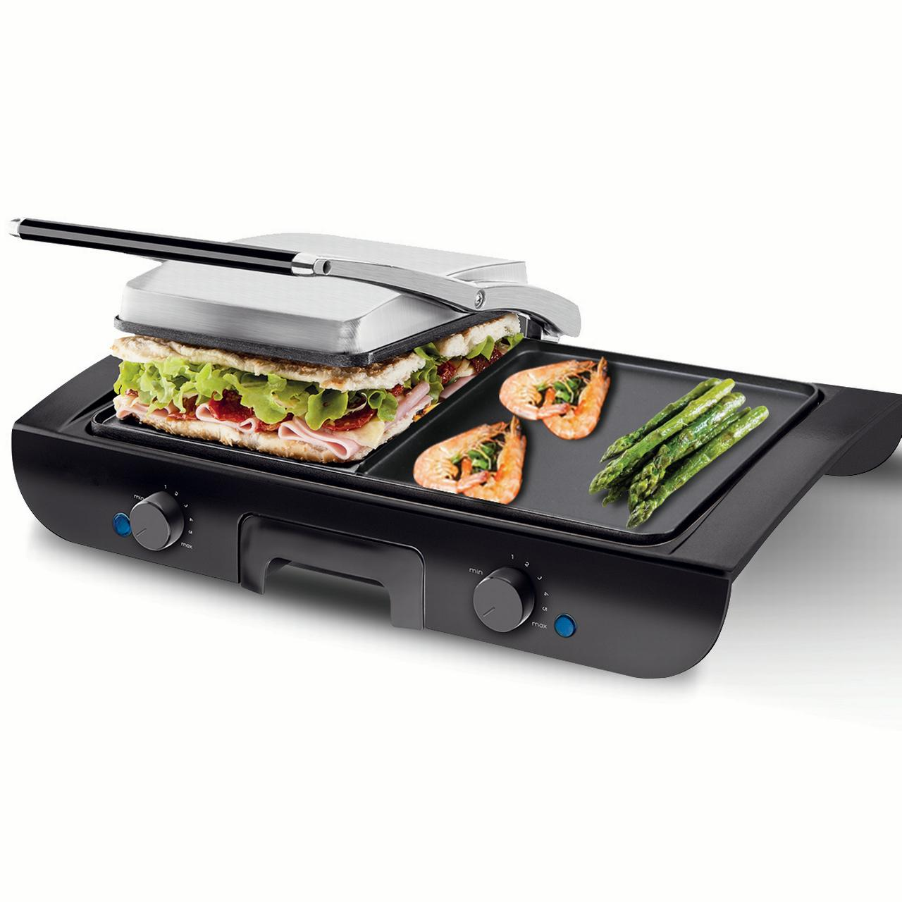Gymax 1500W Electric 2 In 1 Multi Grill Griddle Sandwich Maker with Nonstick Plates