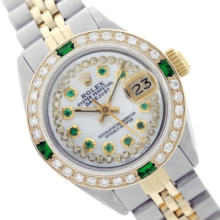 Pre-Owned Rolex Ladies Datejust White Mother of Pearl Diamond-Emerald Dial & Bezel Two Tone 26mm