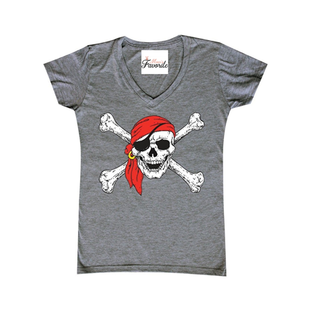 Jolly Roger Skull & Crossbones Women's V-Neck T-shirt Pirate Flag Shirts Skull Crossbones Pirate