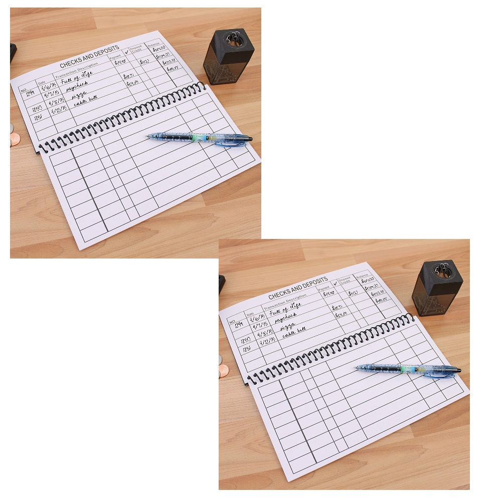 (Set 2) Large Print Spiral Bound Check Registers Oversized For Easy Reading by Bandwagon Inc