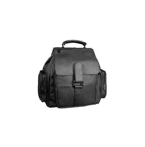 Top Handle Leather Backpack w Map Pocket on Top Flap (Black)