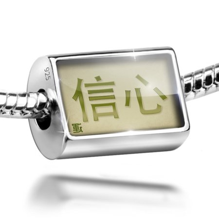 Bead Trust Chinese characters, green letter Charm Fits All European Bracelets