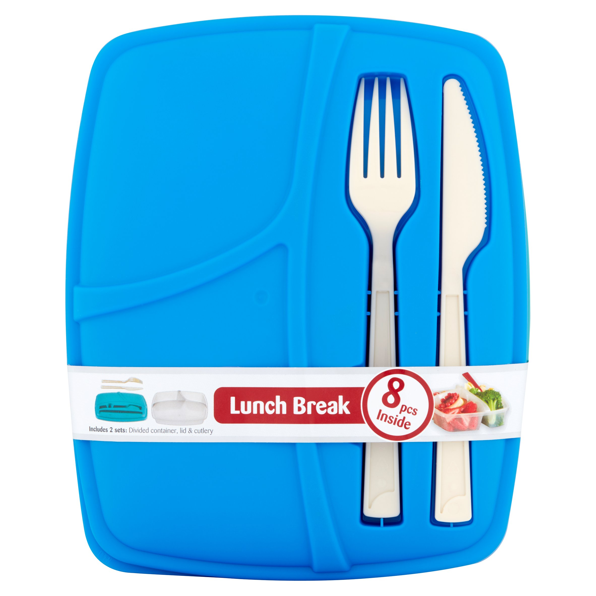 Bramli Frooshii Lunch Break 33.8 oz Divided Container, Lid & Cutlery, 2 pack