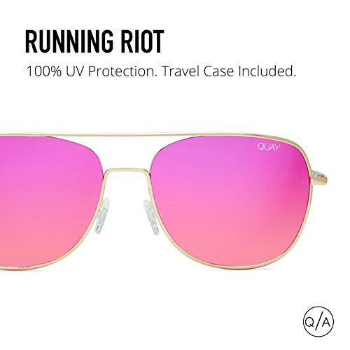 93df93a2fd814 Quay - Quay Women s Mirrored Running Riot QU-000149-GOLD RED Gold Aviator  Sunglasses - Walmart.com