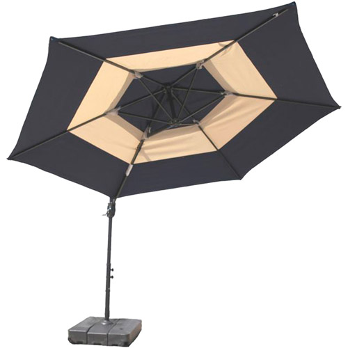 At Leisure 10' Round Offset 2-Tone Umbrella with Base