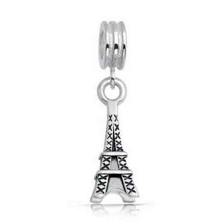Paris Eiffel Tower Landmark Vacation Dangle Charm Bead For Women For Teen 925 Sterling Silver Fits European Bracelet - image 2 de 2