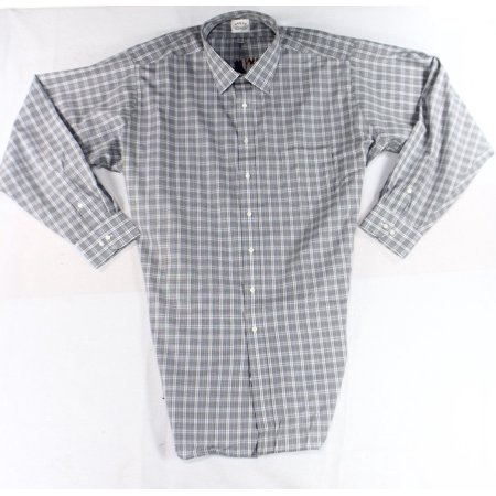 Eagle new gray mens size 20 long sleeve button down plaid for Mens grey button down dress shirt