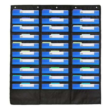 ESYNIC Heavy Duty Storage Pocket Chart with 30 Pockets, 5 Over Door Hangers included, Hanging Wall File Organizer by Hippo Creation - Organize Your Assignments, Files, Scrapbook Papers & More ()
