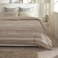 "A1HC Coastline Reversible Print 100% Organic Cotton Wrinkle Resistant Duvet Cover and Sham Set of 2 with Internal Ties and Button Closure, 88"" x 92"", Queen, Beige"