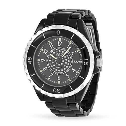 Bling Jewelry Black Enamel Crystal Dial Mens Fashion Stainless Steel Back Watch