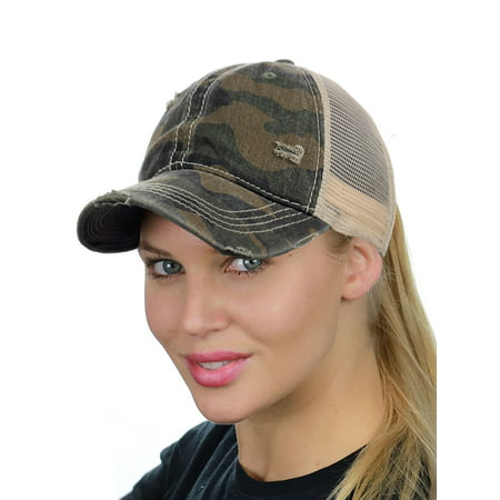 C.C Ponycap Messy High Bun Ponytail Adjustable Mesh Trucker Baseball Cap Hat, Camo Olive