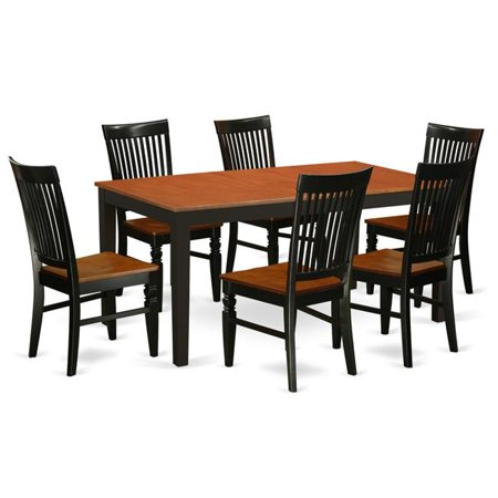 East West Furniture NIWE7-BCH-W Kitchen Table Set with a Dining Table & 6  Kitchen Chairs, 7 piece - Black & Cherry