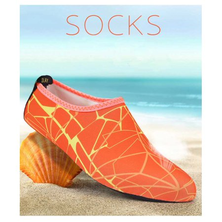 Barefoot Water Skin Shoes, Epicgadget(TM) Quick-Dry Flexible Water Skin Shoes Aqua Socks for Beach, Swim, Diving, Snorkeling, Running, Surfing and Yoga Exercise (Orange/Yellow, XL. US 9-10 EUR (Swim Skins Sale)