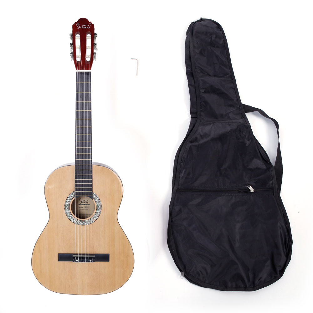 Ktaxon GT305 39 inch Spruce Front Cutaway Classic Guitar with Bag & Wrench Tool Glossy Edge Burlywood Color