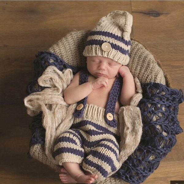 Newborn Baby Photography Prop Boy Girl Photo Shoot Outfits Crochet Knit Clothes