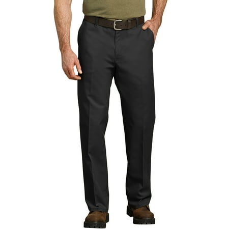 Black Straight Leg Trousers - Men's Relaxed Fit Straight Leg Flat Front Flex Pant