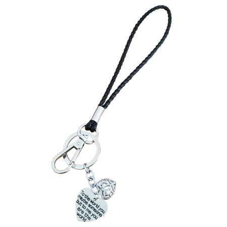 AM Landen Love Words Braided Leather 6' Wristlet Key Chains Keychain for Keys, Phone & Camera Best Gift Keychains For Friends & Family (To the world you maybe someone but to me you (Symbols That Mean Best Friends)