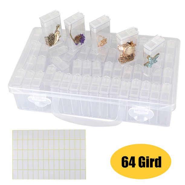 64 Grids Diamond Painting Drill Storage Case Embroidery Beads Organizer Storage Container For Diamond Painting Portable Plastic Diamond Individual Box With Label Marker Stickers For Diy Art Craft Walmart Com Walmart Com