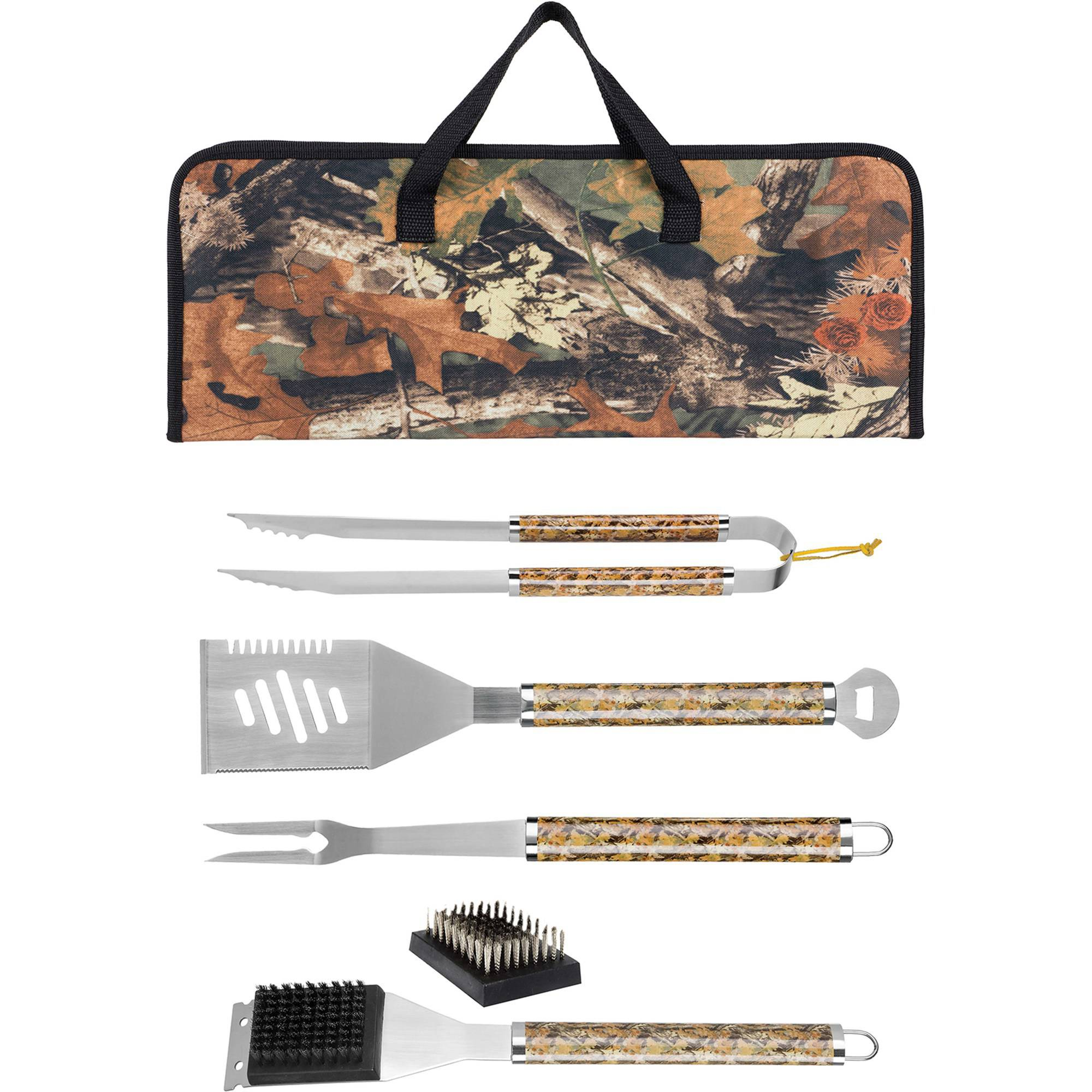 MR. Bar-B-Q Tool Set w/ Plastic Camo Handles in Nylon Camo Bag, 6 pc