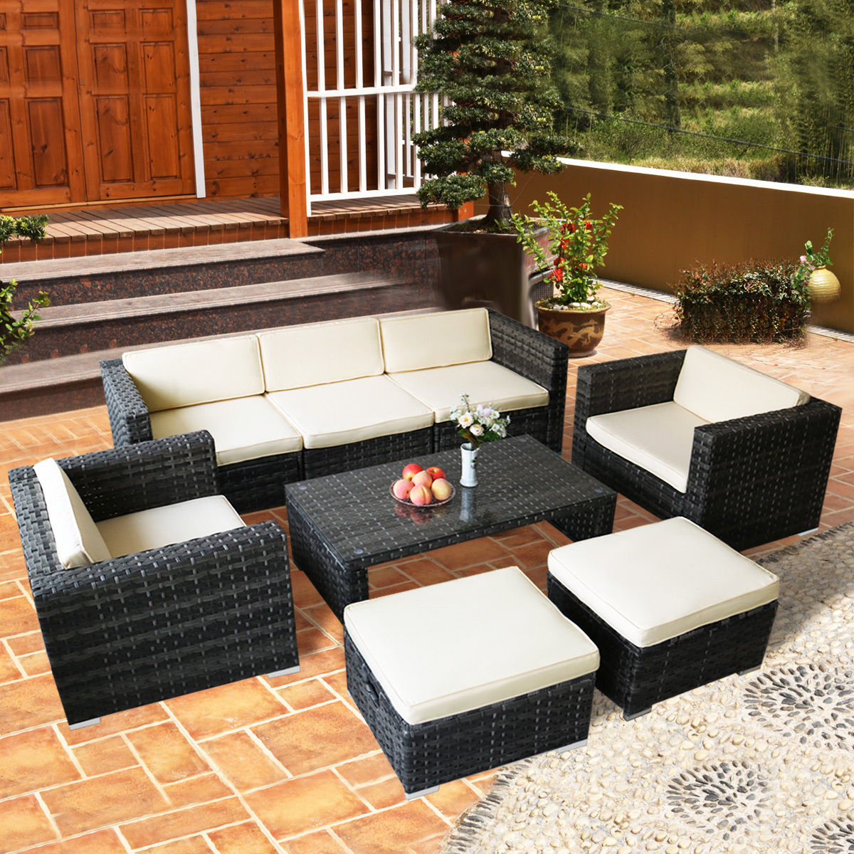 costway 8 pcs rattan wicker patio furniture set sectional cushioned ottoman sofa garden - Sectional Patio Furniture