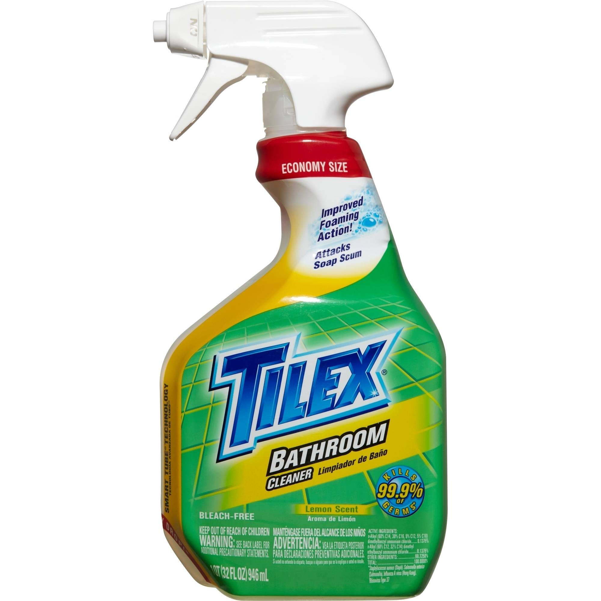 Tilex Bathroom Cleaner, Spray Bottle, Lemon, 32 Ounces