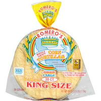 Romero's Whole Grain Yellow Corn King Size Tortillas, 30 ct