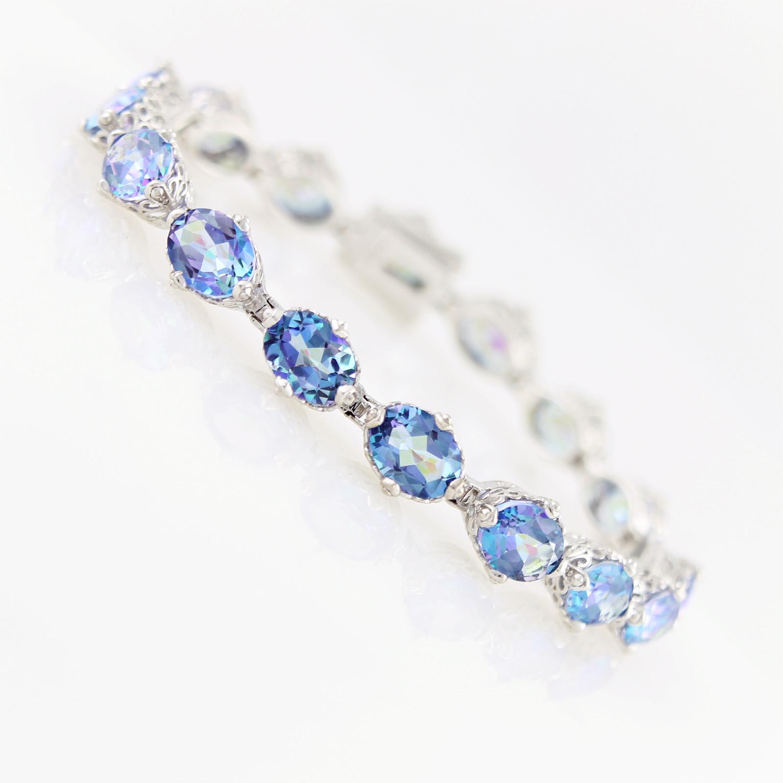 "Platinum O  Sterling Silver 29.34ctw Millenium Topaz Crown Bracelet 8.00""L by Sambhav"