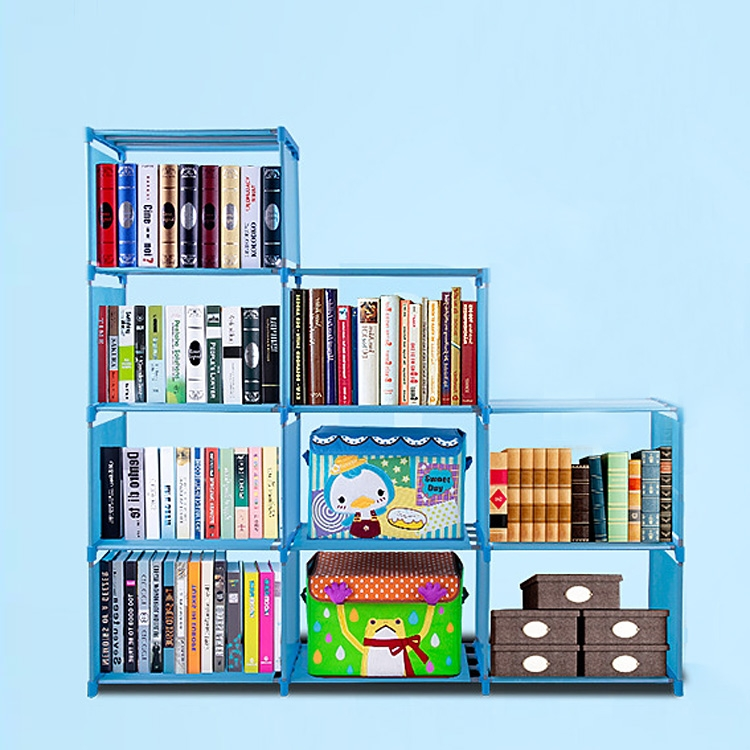 Adjustable Kid Bookcase Storage Organizer Bookshelf with 9 Book Shelves